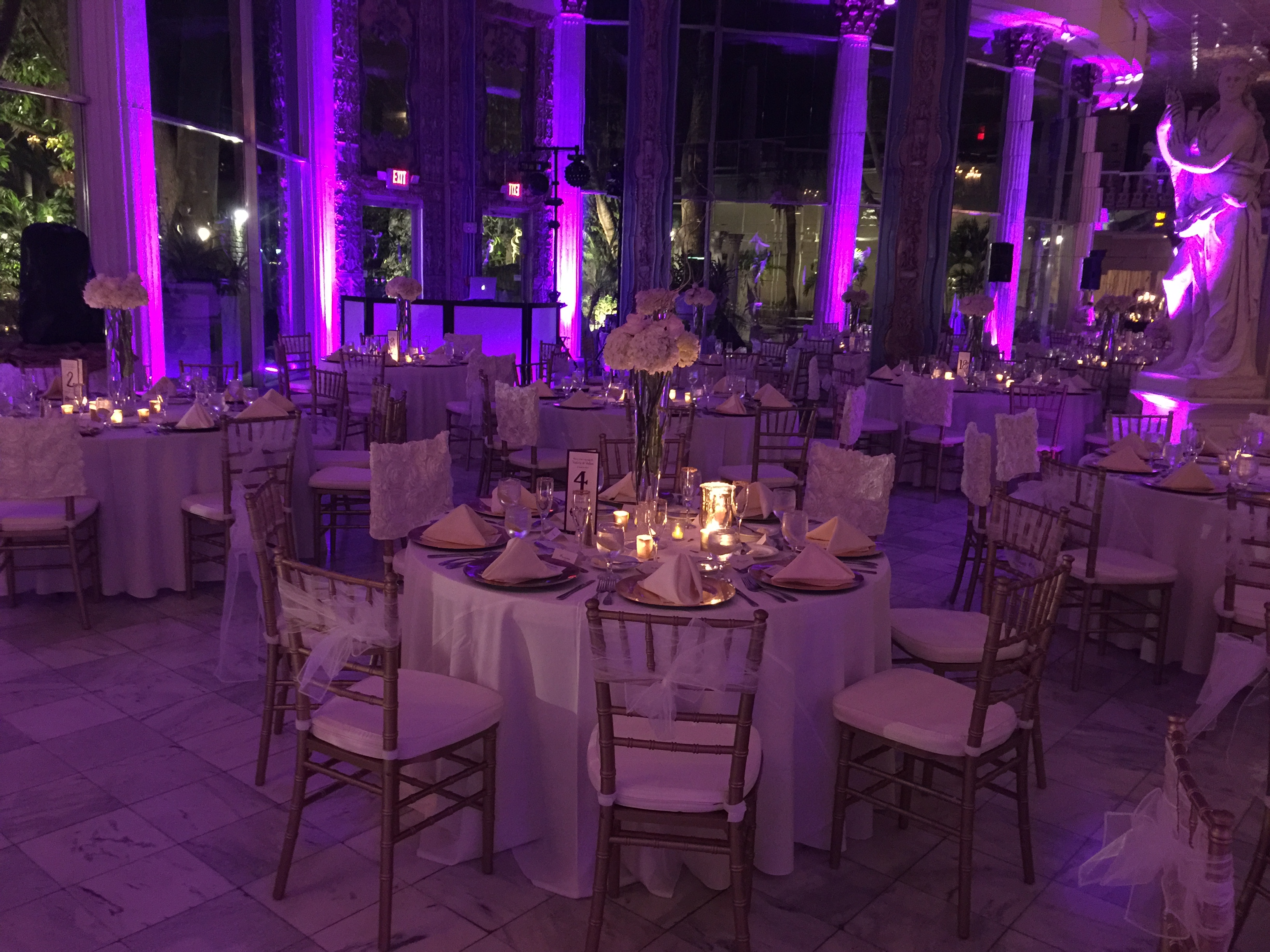 Round Table Settings with Dimmed Lights