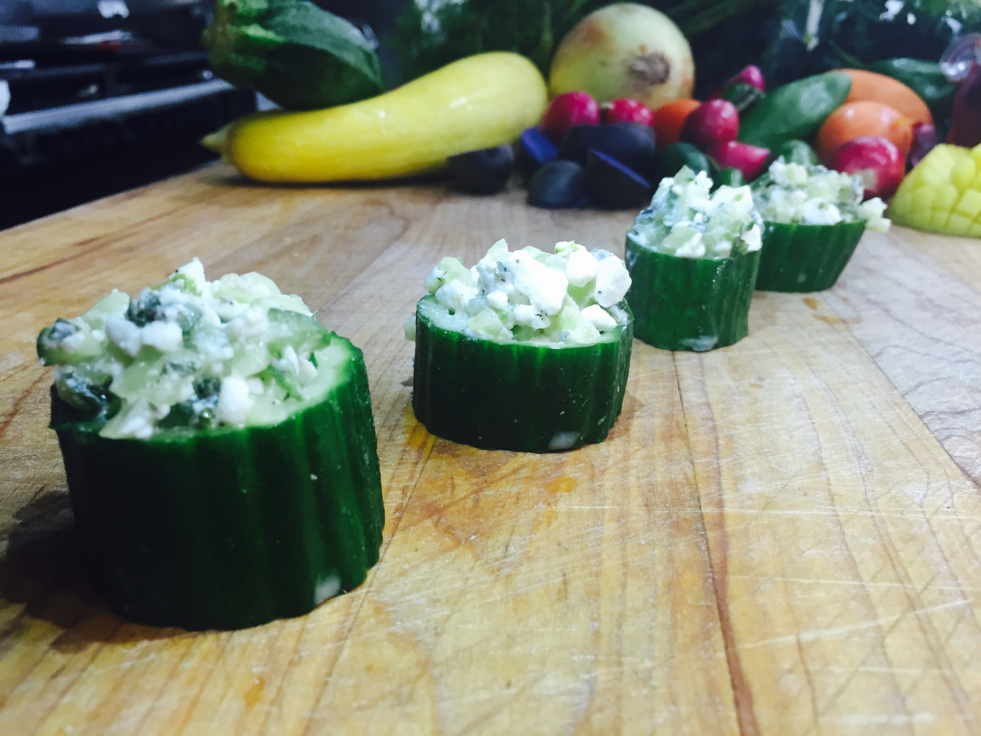 Cucumber, Feta and Oregano Salad in Cucumber Cups