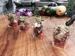 Grilled Octopus Salad Shooters