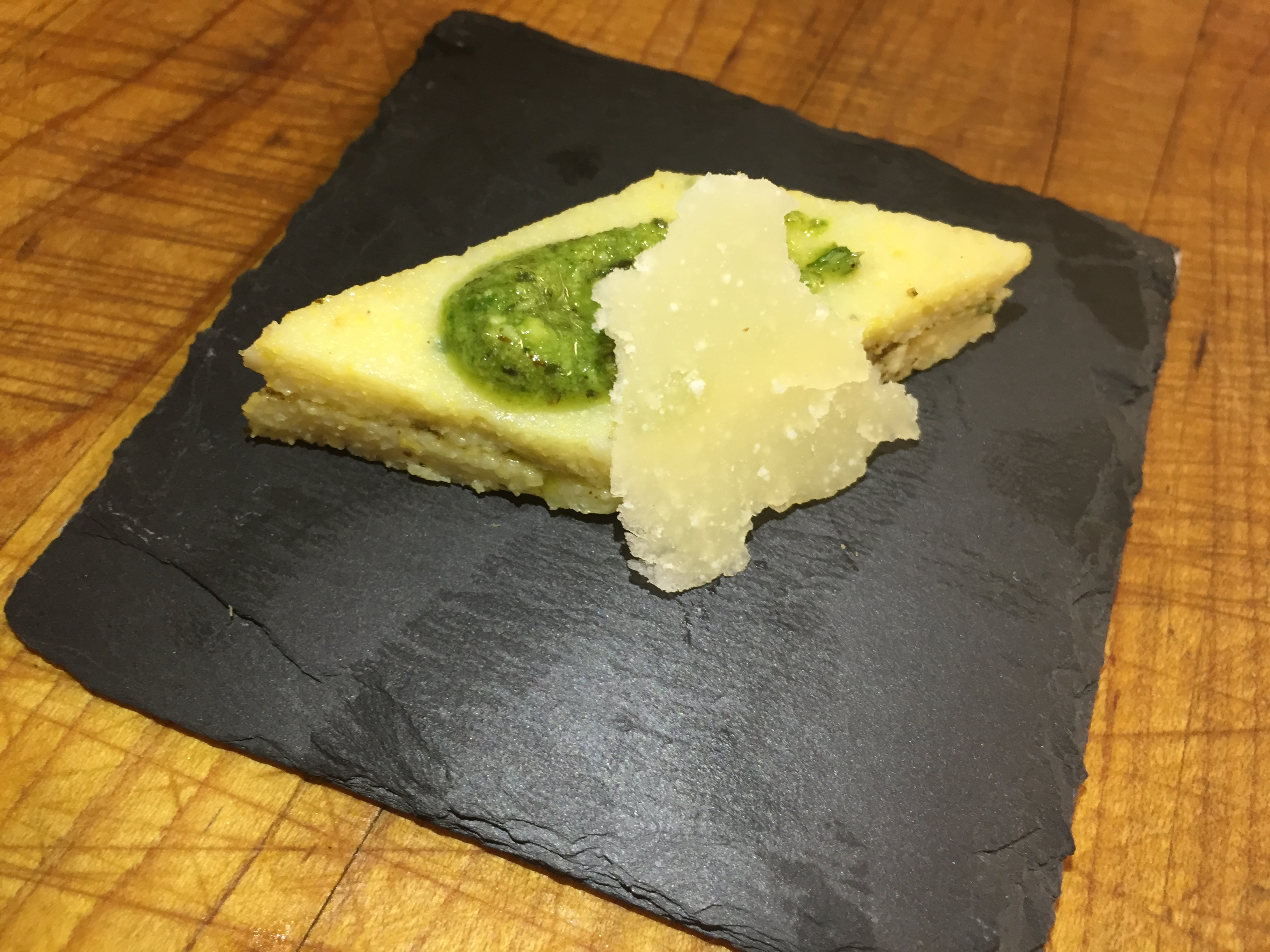 Polenta Diamonds with Pesto Sauce and Shaved Parmesan