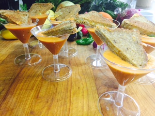 Tomato Bisque Shooter Topped with Mini Grilled Cheese