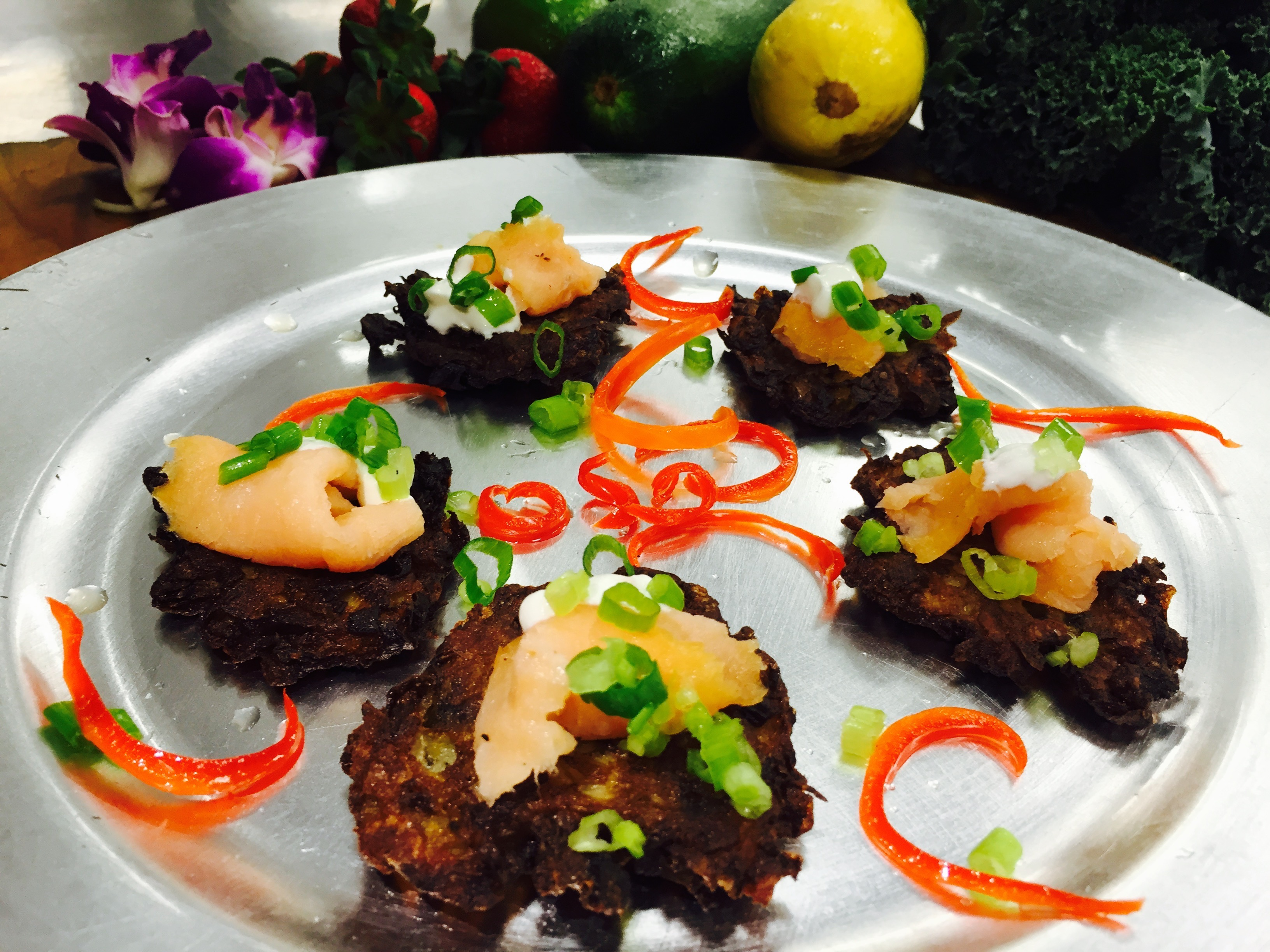 Potato Pancakes Served with Sour Cream and Chives or Applesauce
