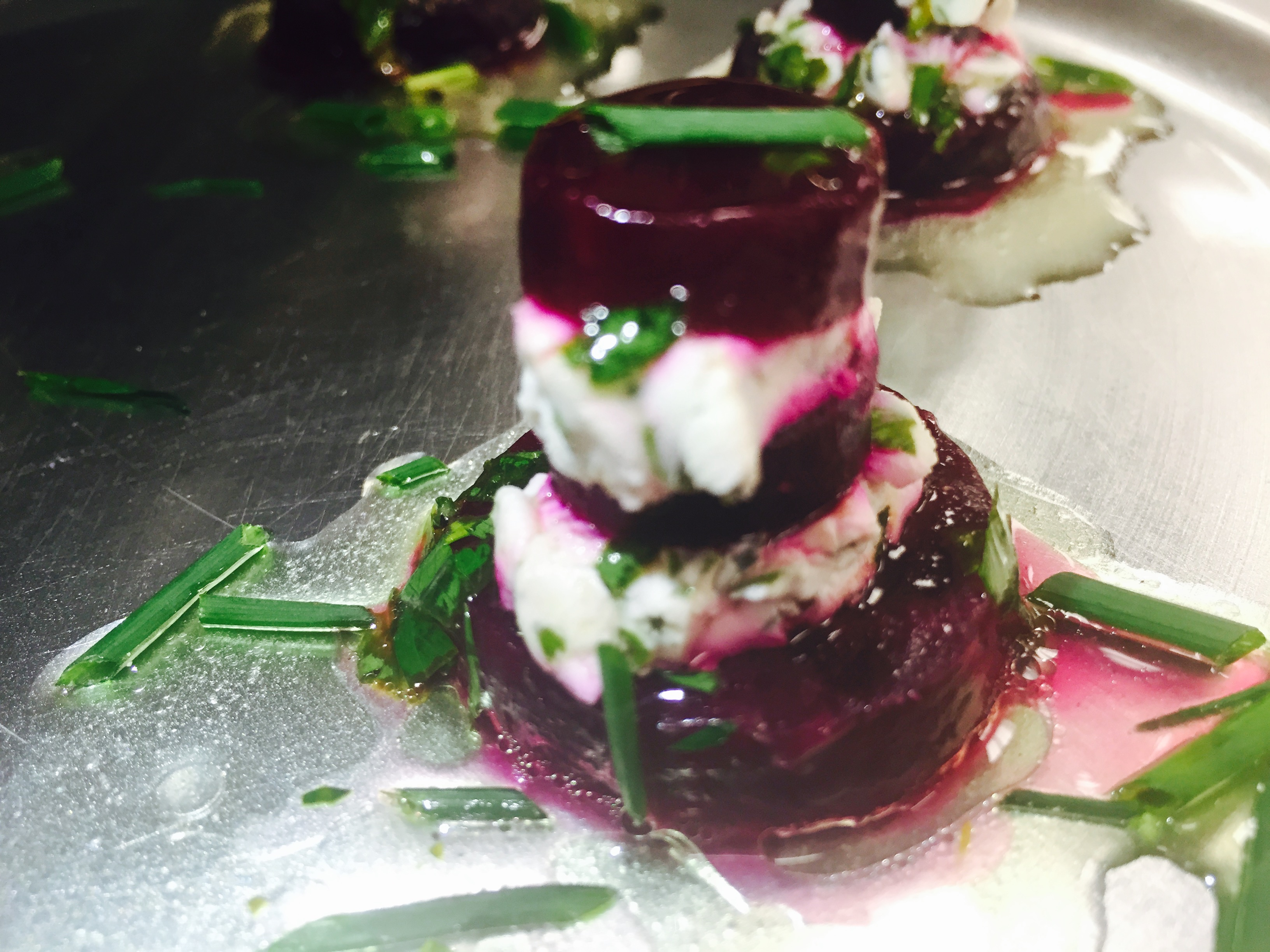 Roasted Beet and Herbed Goat Cheese Napoleons Topped with Micro Radish Greens
